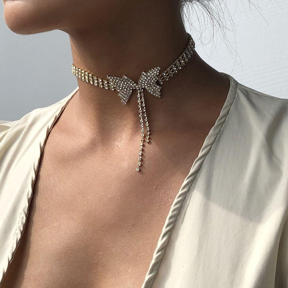 Butterfly Rhinestone Tassel Choker Necklace